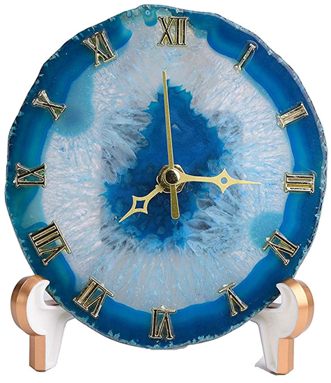 A clock made from a slice of agate. See the crystals? - Enhance Your Home with Blue Agate –A Beautiful Natural(ish) Mineral – myDesign42