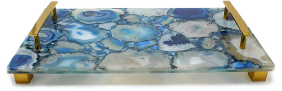Decorative Tray made from a slab of agate dyed blue - Enhance Your Home with Blue Agate –A Beautiful Natural(ish) Mineral – myDesign42