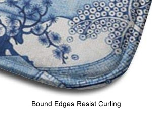 Bound edges resist curling, so you are less likely to trip. - Blue Willow Memory Foam Contour Toilet Mats
