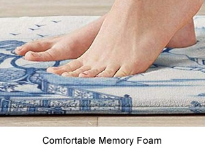 Dense, pliable memory foam core - Blue and White Chinoiserie Memory Foam Mats