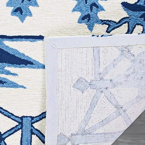 The back of the rug - Indoor/Outdoor Blue Willow Pagoda Rugs from Dream Decor