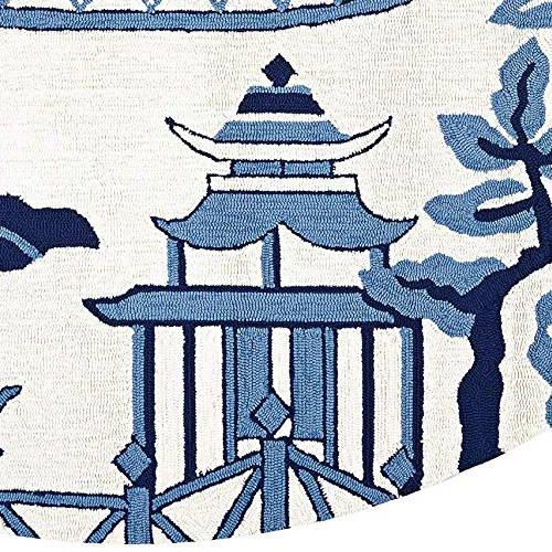 Hand-hooked Blue and Off-white Asian Motif Area Rugs - Round Indoor/Outdoor Blue Willow Pagoda Rug from Dream Decor