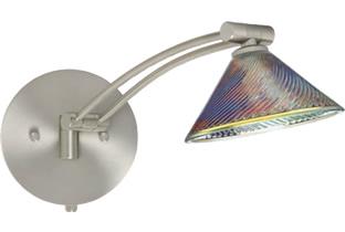 Besa 1WW-550493-SN Swing Arm Wall Sconces with Iridescent Dicro Swirl Glass - Besa Lighting with Iridescent Dicro Swirl Glass