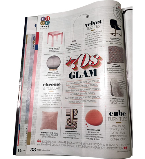 '70s Glam The Trend Issue of Better Homes & Gardens, March 2019 - Arc Lamp - '70s Glam