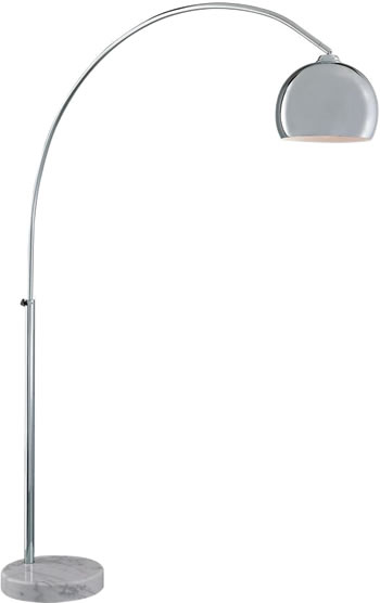 George's Reading Room Floor Lamp George Kovacs P053-077 Chrome Arc Floor Lamp with White Marble Base - Arc Lamp - '70s Glam