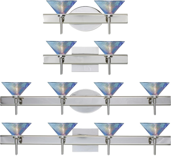 Besa Vanity Lights with Iridescent Dicro Swirl Glass - Besa Lighting with Iridescent Dicro Swirl Glass