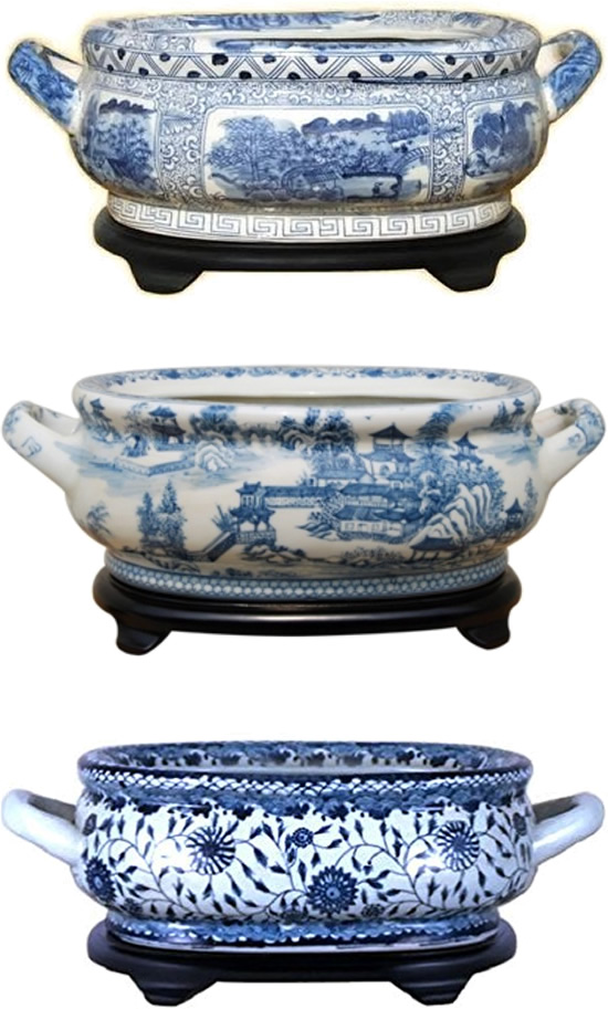 Three foot bath basins with handles and wood stands, Chinese Scenes, Pagoda Landscape and Chrysanthemum - Oval Blue Willow Porcelain Flower Pots - my Design42