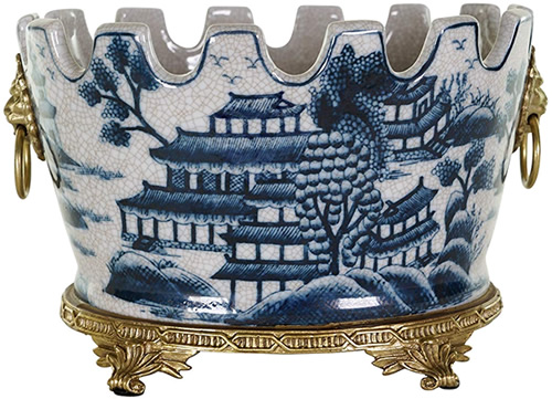 Blue Willow Pattern Raku Crackeled Oval Flowerpot with Brass Footed Base and Lion Ring Handles - Oval Blue Willow Porcelain Flower Pots - my Design42