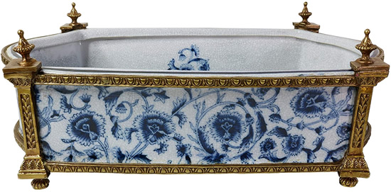 Rectangular Basin with Brass Frame and Feet - The chrysanthemum pattern is inside, too. - Oval Blue Willow Porcelain Flower Pots - my Design42