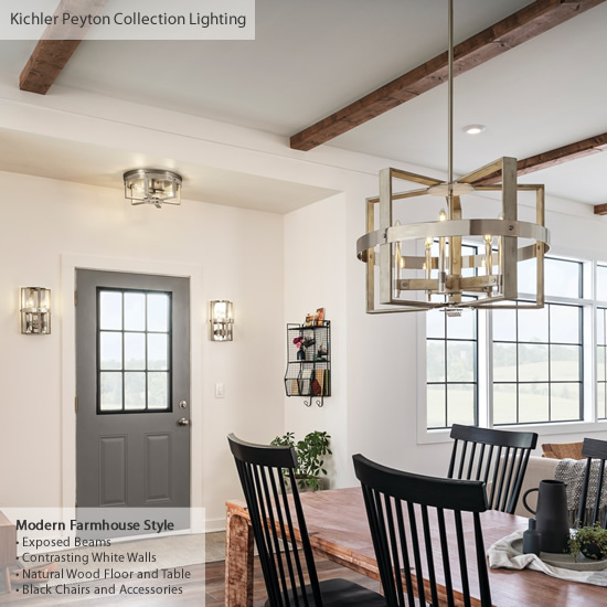Modern Farmhouse Dining Room with a chandelier pendant over the table. The nearby entry has two coordinating wall sconces and a ceiling light all from the Peyton Collection from Kichler Lighting - Farmhouse Style Lighting from Kichler - My design42