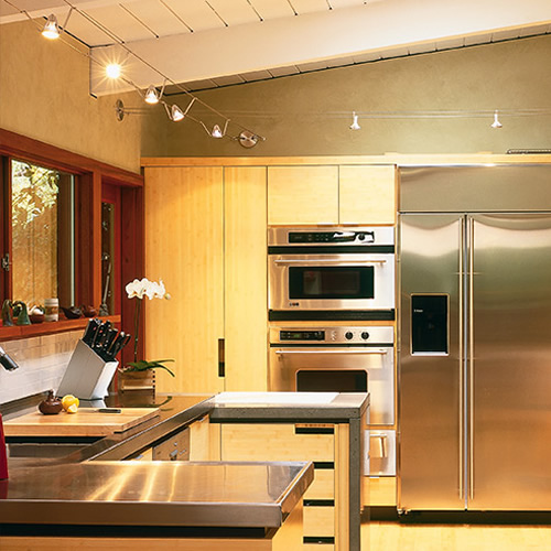 Kitchen with Tech Lighting Kable Bye-Bye fixtures on cable that is supported from the walls - DIY Guide to Buying and Designing Cable Light – My Design42