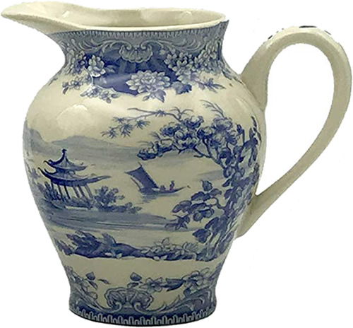 Pagoda Blue and White Cream Pitcher