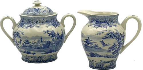 Pagoda Blue and White Cream Pitcher and Sugar Bowl