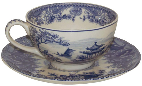 Pagoda Blue and White tea cup