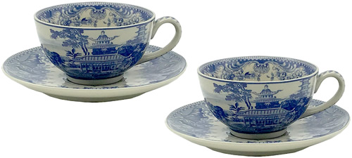 Pagoda Blue and White tea cups