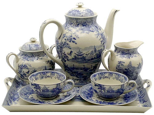 Pagoda Blue and White Antique Reproduction Transferware Porcelain Tea Set with Tray from the Madison Bay Company