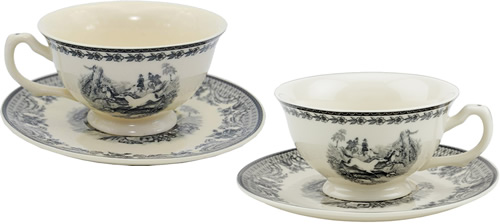 Equestrian Black Transferware on White Porcelain Tea Cups and Saucers from the Madison Bay Company