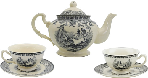 Equestrian Black on White Teapot, cups and saucers from the Madison Bay Company