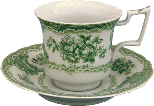 The tea cup and saucer from the Botanical Green Pattern Antique Reproduction Transferware Porcelain Tea Set with Tray from the Madison Bay Company
