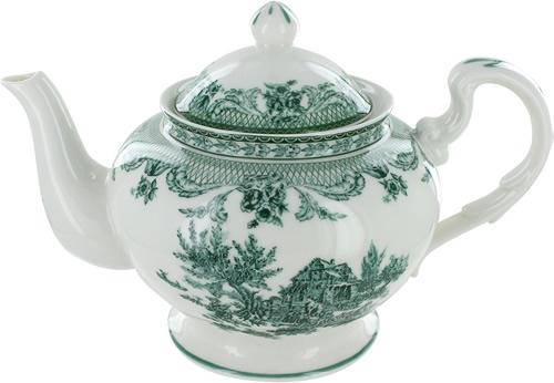 Green Toile Teapot
