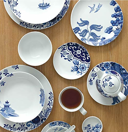 The plates, bowls and cups are available in different sizes and shapes. They each use different elements from the Blue Willow pattern. - Loveramics Willow Love Story Pattern Dishes - My design42
