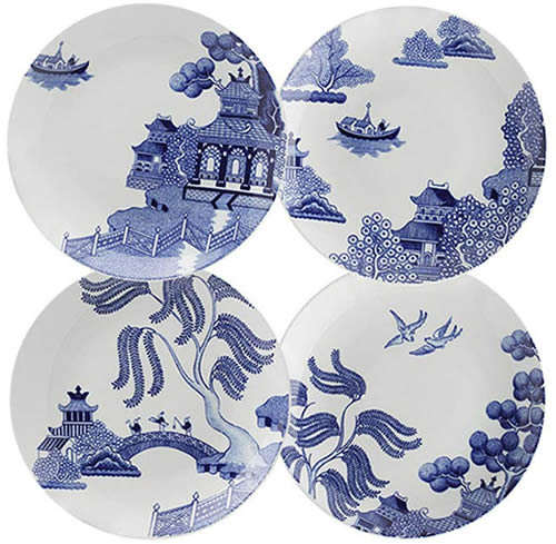"The salad pates are a little over 8"" wide. These are my favorites. - Loveramics Willow Love Story Pattern Dishes - My design42"