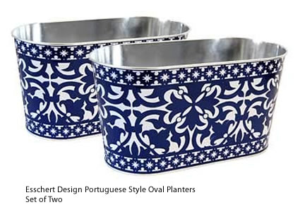 Set of 2 Esschert Design Portuguese Style Oval Metal Planters