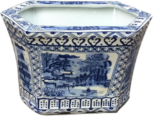 Asian Caravan Blue Willow Canton Cachepot Planter
