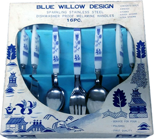 16 piece Blue willow Design Forks, Soup Spoons, Tea Spoons and Knives Sparkling Stainless Steel Dishwasher Proof Melamine Handles