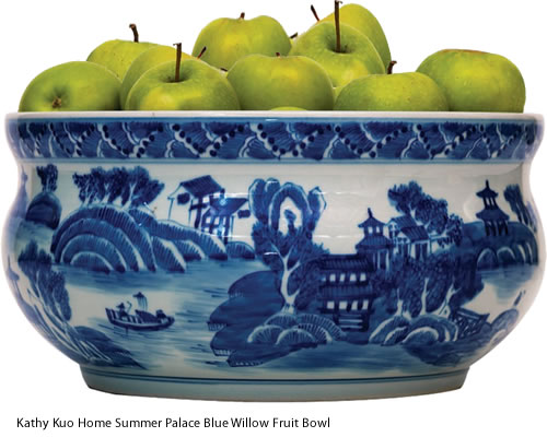 Kathy Kuo Home Summer Palace Blue Willow Fruit Bowl