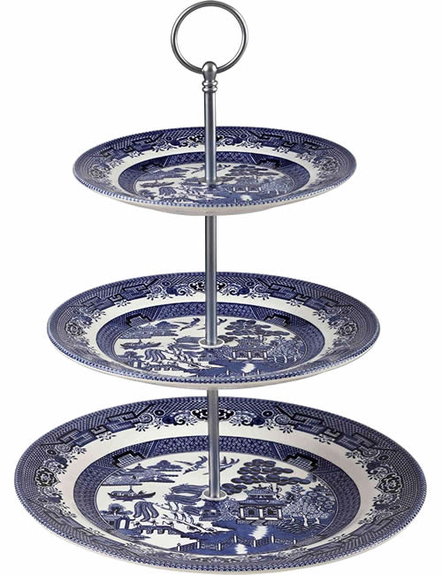 Churchill Blue Willow 3-Tier Cake Stand - Blue Willow 2-Tier and 3-Tier Servers and Cake Stands - myDesign42