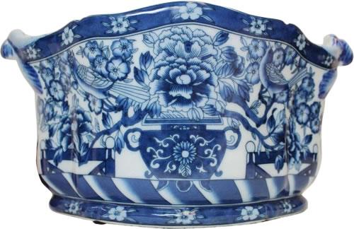 "12"" Hidden Bird Blue and White Foot Bath Porcelain Planters"
