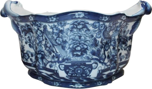 "14"" Hidden Bird Blue and White Foot Bath Porcelain Planters"