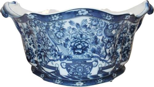 "19"" Hidden Bird Blue and White Foot Bath Porcelain Planters"