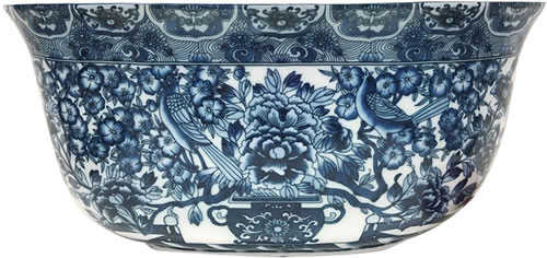 "19"" Hidden Bird Blue and White Oval Foot Bath"