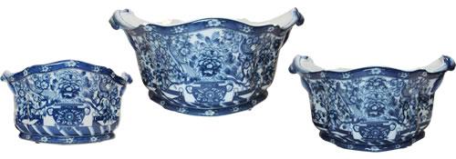 Hidden Bird Blue and White Foot Bath Porcelain Planters