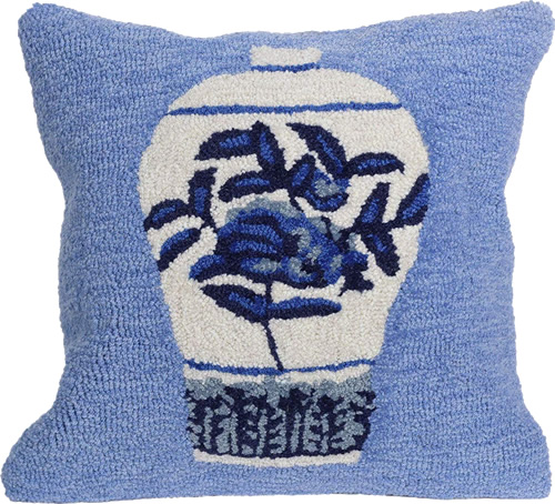 Liora Manne's Ginger Jars Blue Pillow