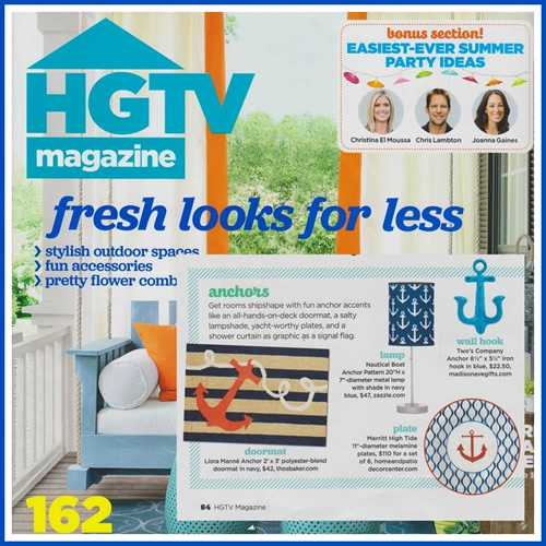 Liora Manné Anchor doormat in HGTV Magazine's issue HGTV Magazine The issue Fresh Looks for Less article Stylish Outdoor Spaces