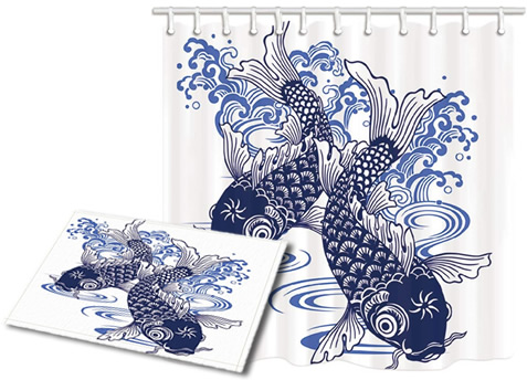 Bath Mat and Shower Curtain printed with Koi Fish in Porcelain Blue