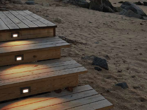 WAC Lighting LED Step Lights have no visible hardware. They put out safe constant light and are protected against even high-pressure water jets.