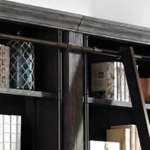 Detail of the steel rails and the rail for the sliding library ladder