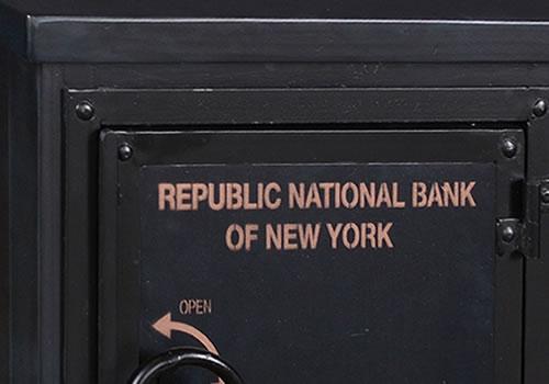 Dark gun metal patina finish with matt gold stencil - Bank Vault Safe End Tables