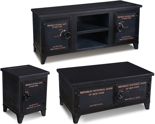 Bank Vault Safe Side Table, TV Table and Coffee Table - British Phone Booth and Bank Vault Safe End Tables