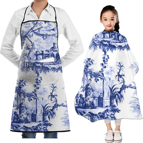 Chinoiserie Landscape Toile Salon Cape and Apron