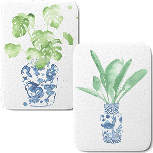 Small Bath Mats printed with Cobalt Blue and White Asian Pattern Vases with Monstera Leaves and Bird of Paradise Leaves