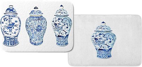 Cobalt Blue and White Ginger Jar Memory Foam Mats