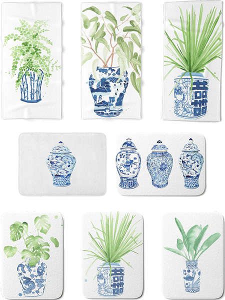 Blue and White Ginger Jar Bathroom Mats and Towels