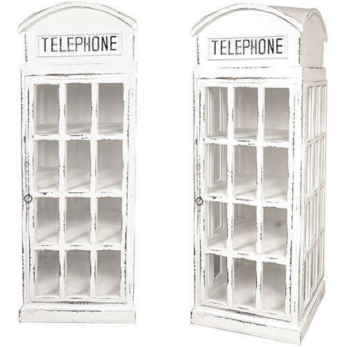 White British Phone Booth Display Cabinet