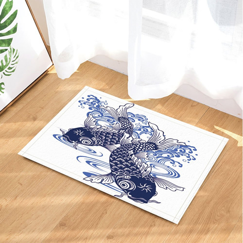 Asian Blue and White Porcelain Fish Mat and Shower Curtain