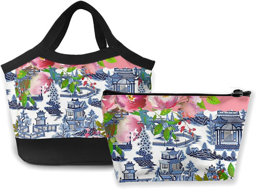 Pink Roses and Blue Willow Pattern Lunch Tote and Reusable Zip Case